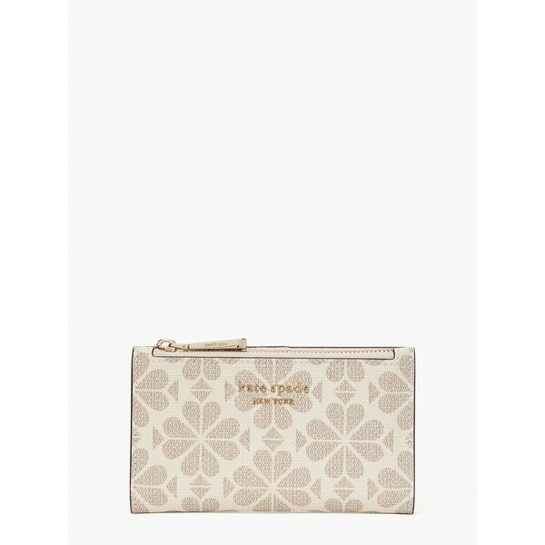 spade flower coated canvas small slim bifold wallet