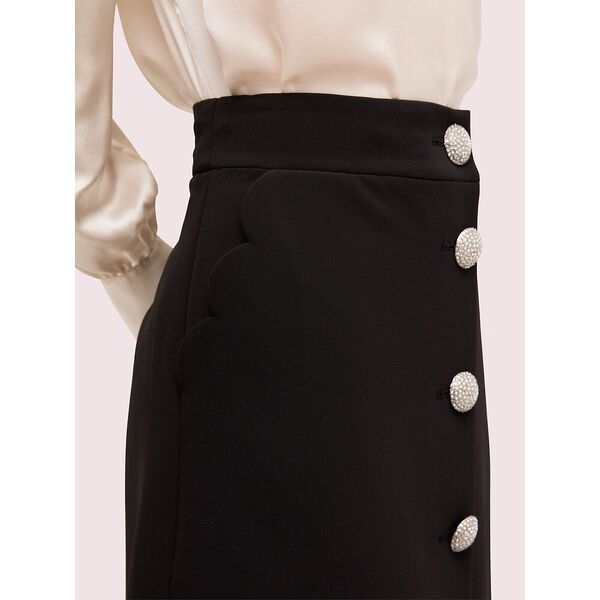 scallop pocket skirt, black, hi-res