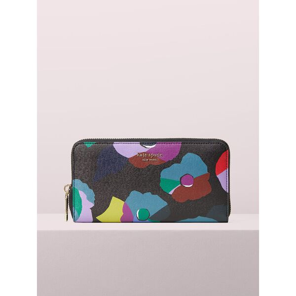 spencer floral collage zip-around continental wallet