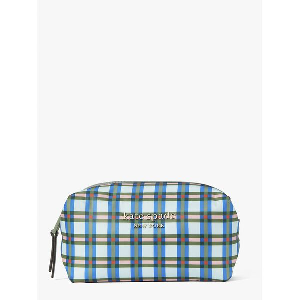 everything puffy plaid medium cosmetic case