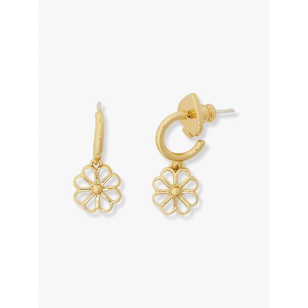 spade floral charm huggies, clear/gold, hi-res