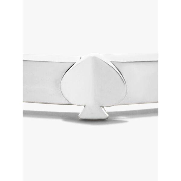 heritage spade thin metal button bangle, silver, hi-res