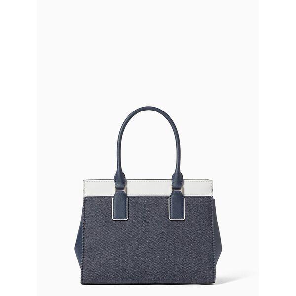 cameron denim colorblock medium satchel, denim multi, hi-res