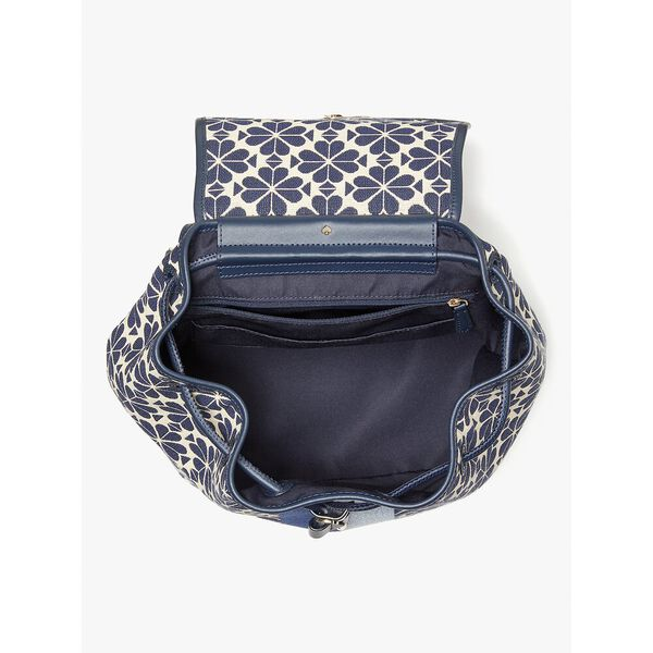 spade flower jacquard stripe sinch medium flap backpack, blue multi, hi-res