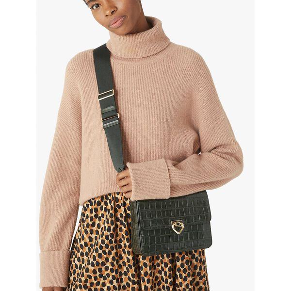 lovitt croc-embossed small medium convertible shoulder bag, deep evergreen, hi-res