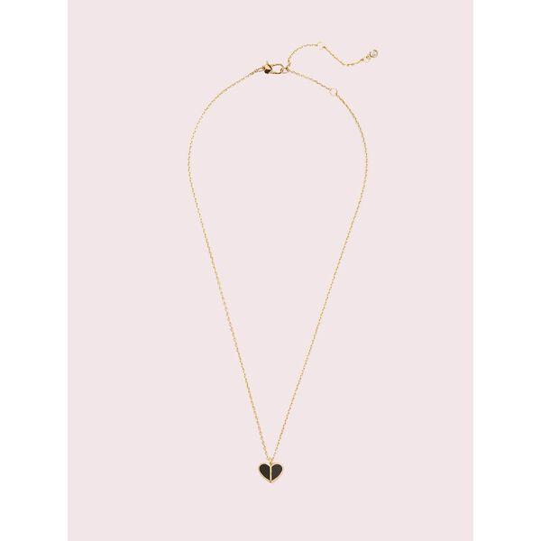 heritage spade enamel heart mini pendant, black, hi-res