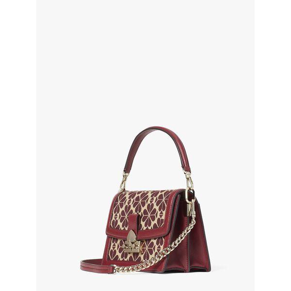 harmony spade flower jacquard small shoulder bag, pinot noir multi, hi-res