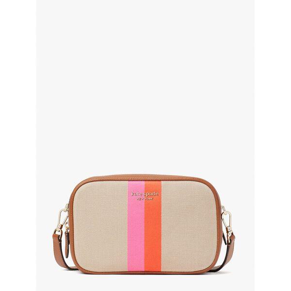 astrid striped canvas medium crossbody, pink multi, hi-res