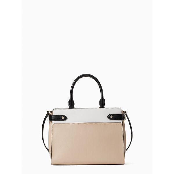 staci colorblock medium satchel, warm beige multi, hi-res