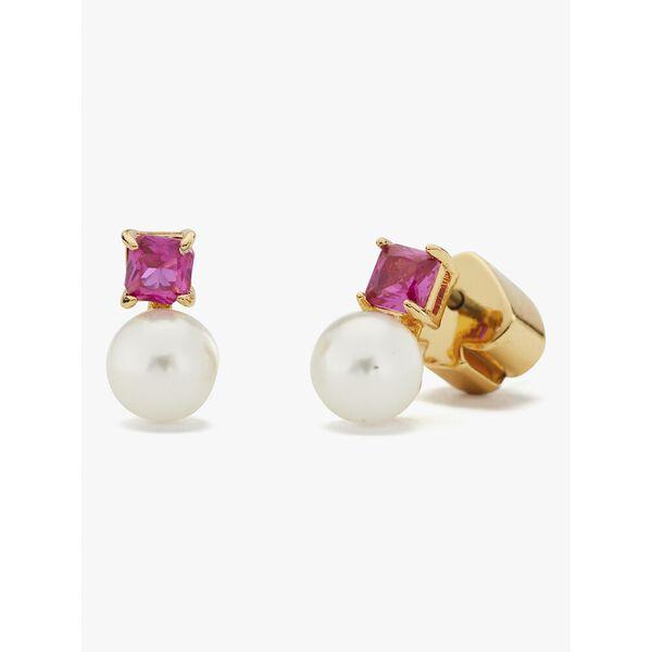 little gem pearl & stone mini studs, DEEP MAGENTA, hi-res