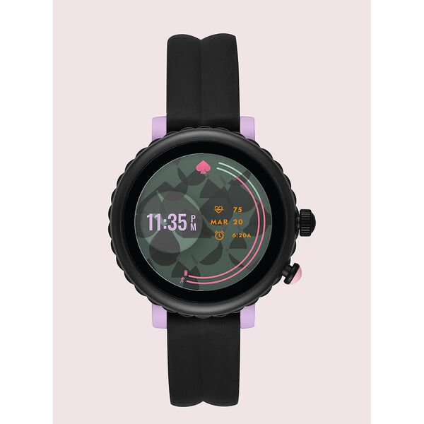 kate spade new york black silicone sport smartwatch featuring contactless payment
