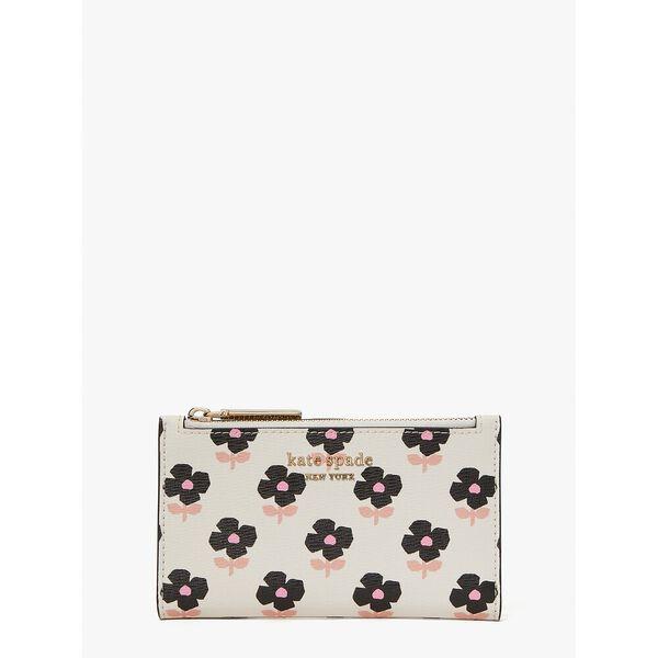 spencer block print floral small slim bifold wallet, parchment multi, hi-res