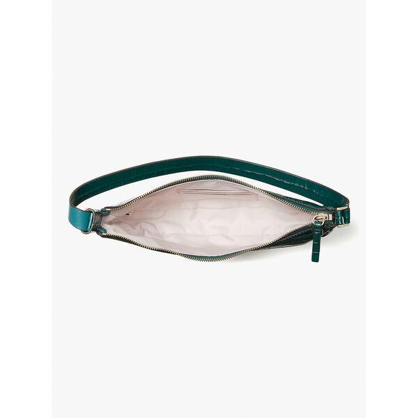 smile croc-embossed leather small shoulder bag, dark deep jasper, hi-res