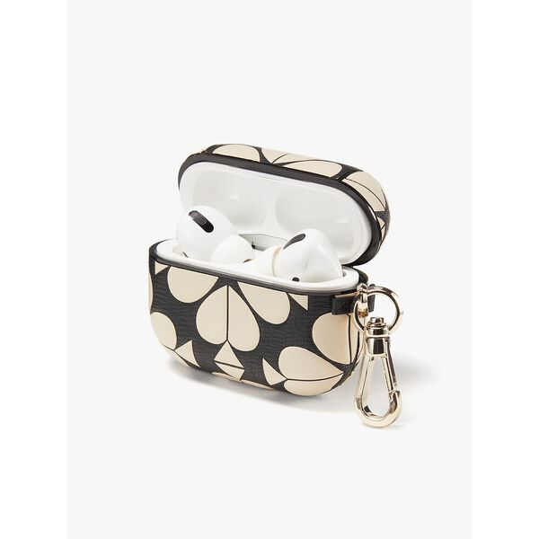 spade flower embossed leather airpods pro case, black multi, hi-res
