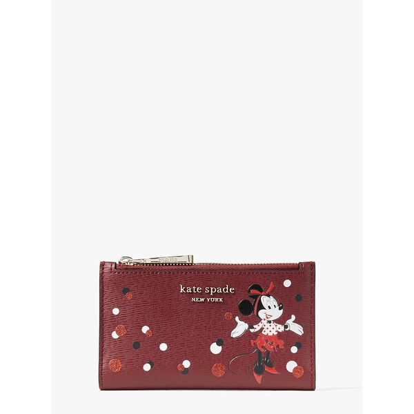 disney x kate spade new york minnie mouse small slim bifold wallet, red multi, hi-res