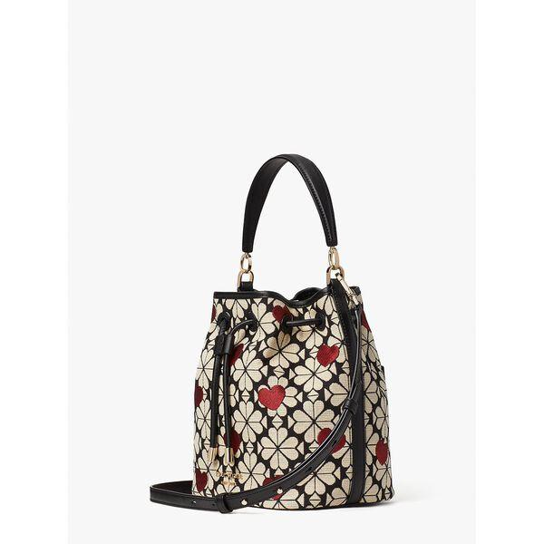 spade flower jacquard hearts medium bucket bag, black multi, hi-res