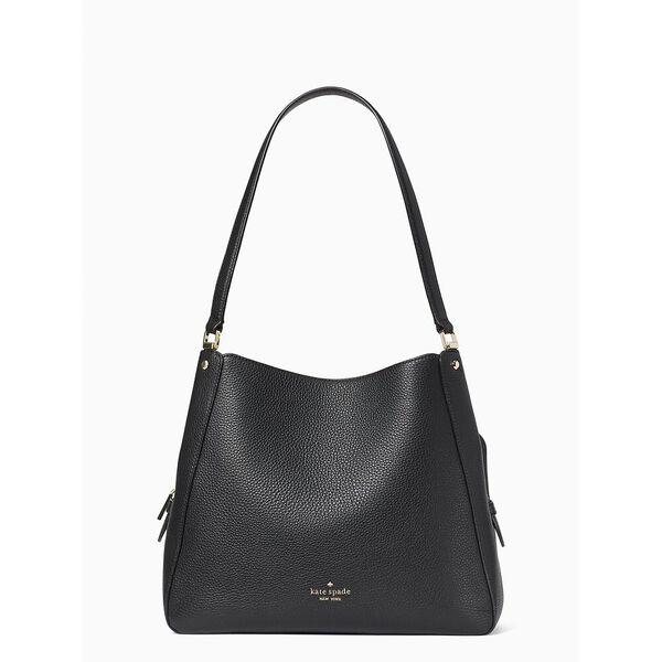 leila med trpl compt shoulder bag, black, hi-res