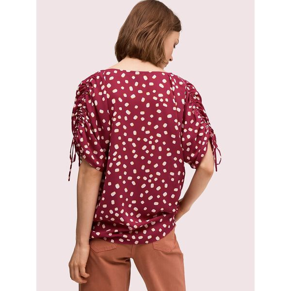 mallow dot ruched sleeve top, beet juice, hi-res