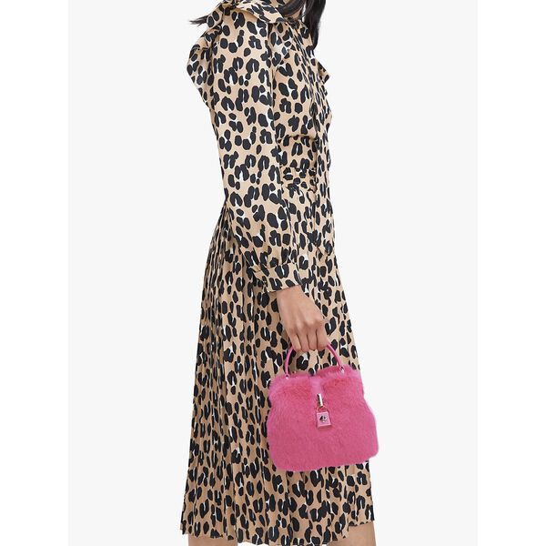 remedy faux fur small top-handle bag, shocking magenta, hi-res