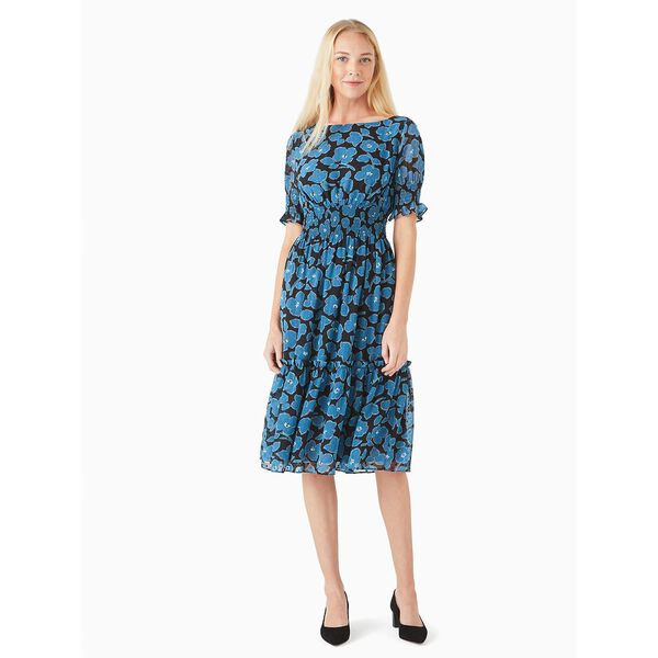 whimsical floral puff sleeve blaire midi dress