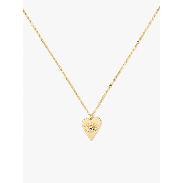 wishes evil eye heart pendant, clear/gold, hi-res