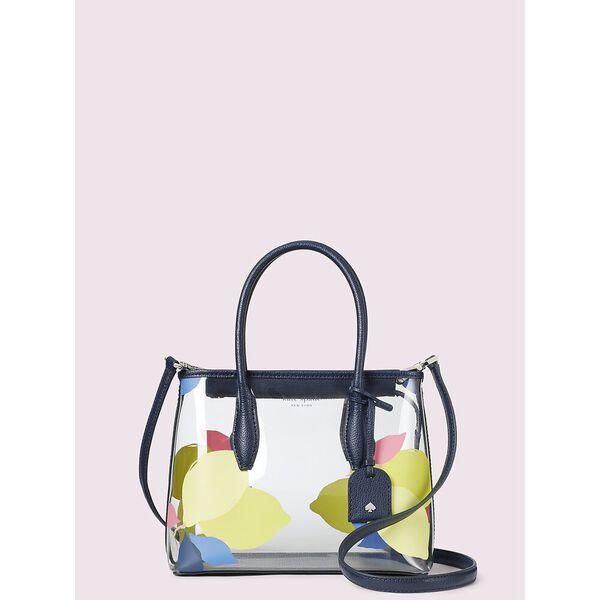 eva see-through lemon zest small top zip satchel