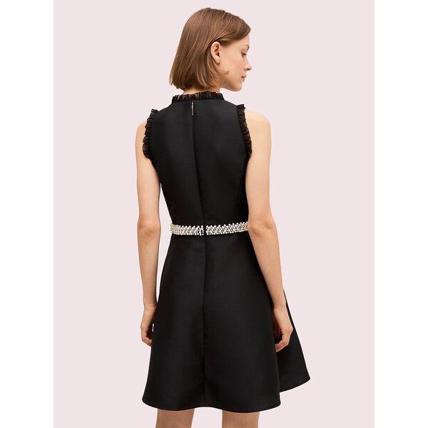 pearl crystal mikado dress, black, hi-res