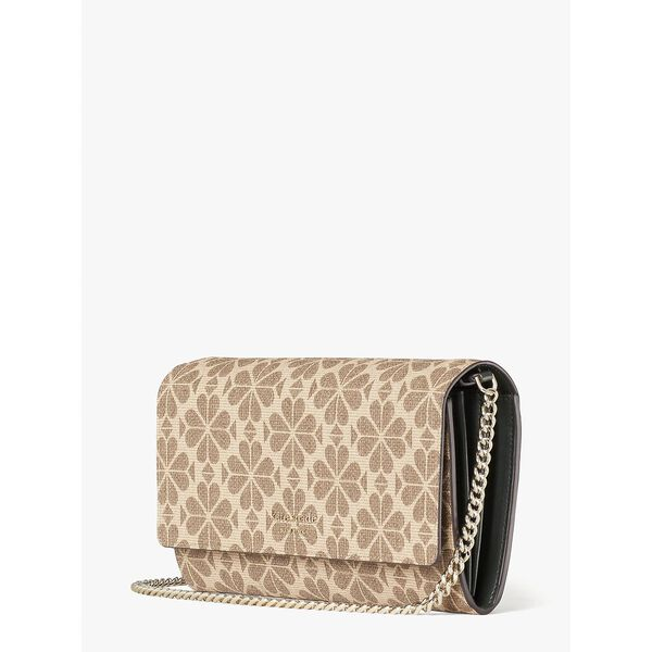 spade flower coated canvas chain clutch, NATURAL MULTI, hi-res