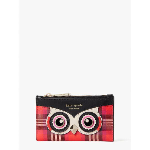 blinx plaid owl small slim bifold wallet, pink multi, hi-res