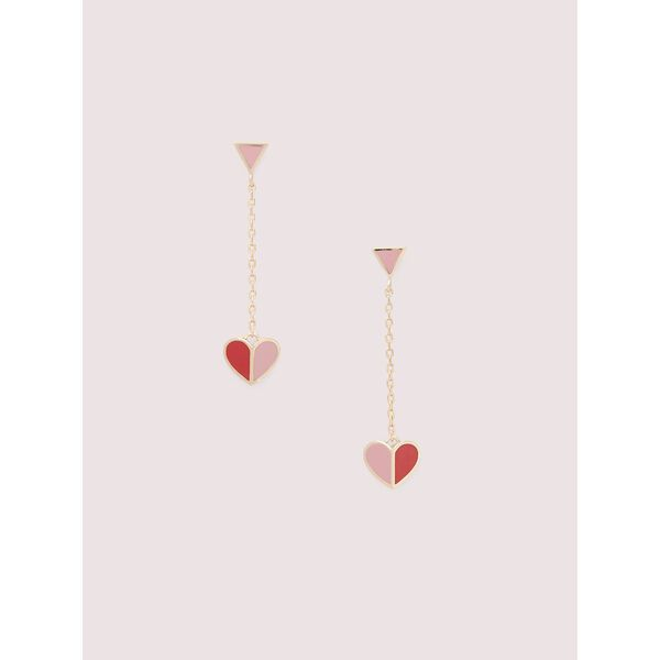 heritage spade enamel heart drop earrings, Pink Multi, hi-res