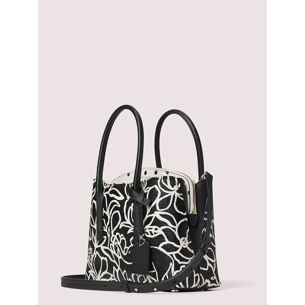 margaux embossed scribble flora medium satchel, black multi, hi-res