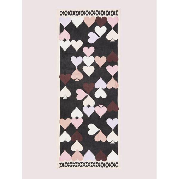 heart spades oblong scarf, BLACK, hi-res
