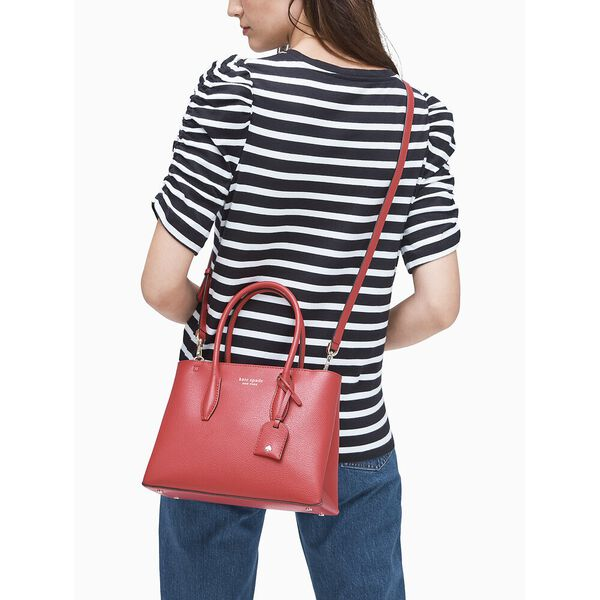 eva small top zip satchel, RED CAKE, hi-res