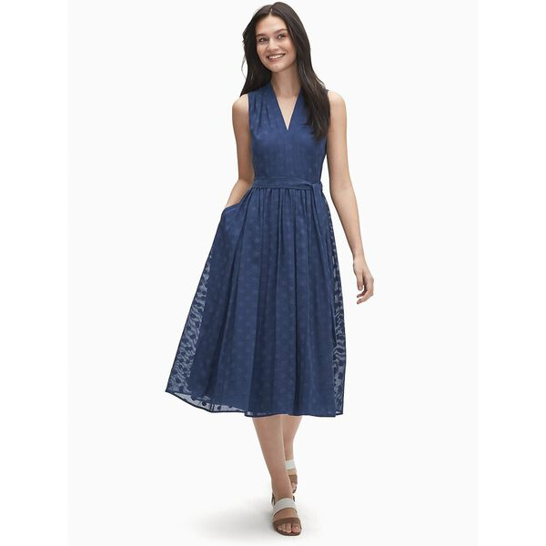 seaside dot burnout dress, river blue, hi-res