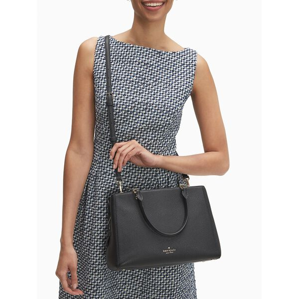 leila med trpl compt satchel, black, hi-res