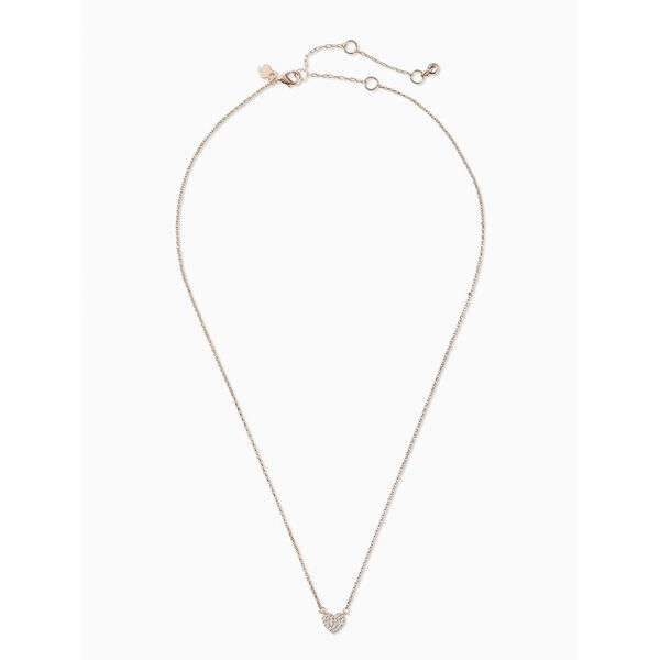 yours truly pave heart mini pendant, clear/rose gold, hi-res
