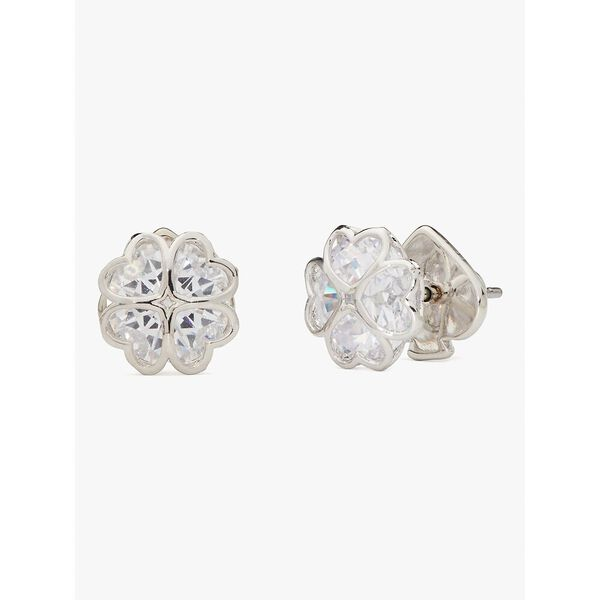 something sparkly spade studs, clear/silver, hi-res