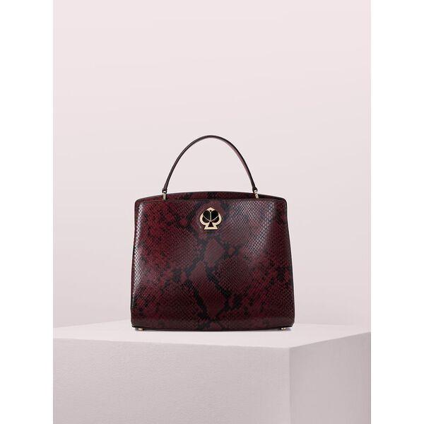romy snake-embossed medium satchel