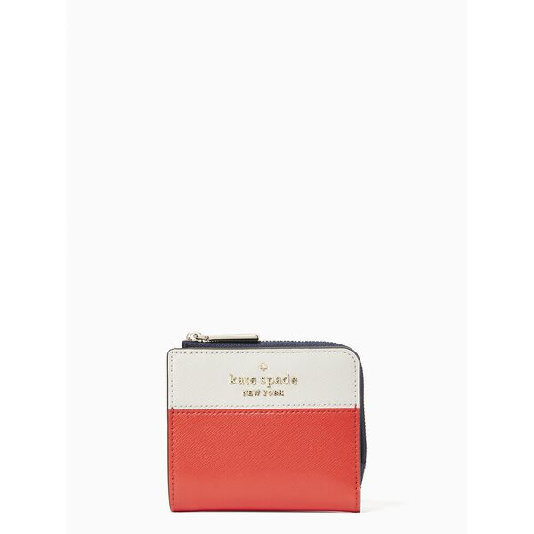 staci colorblock small l-zip bifold wallet, red multi, hi-res