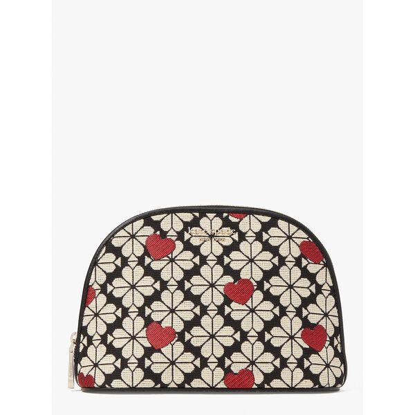 spade flower jacquard hearts large dome cosmetic case, black multi, hi-res