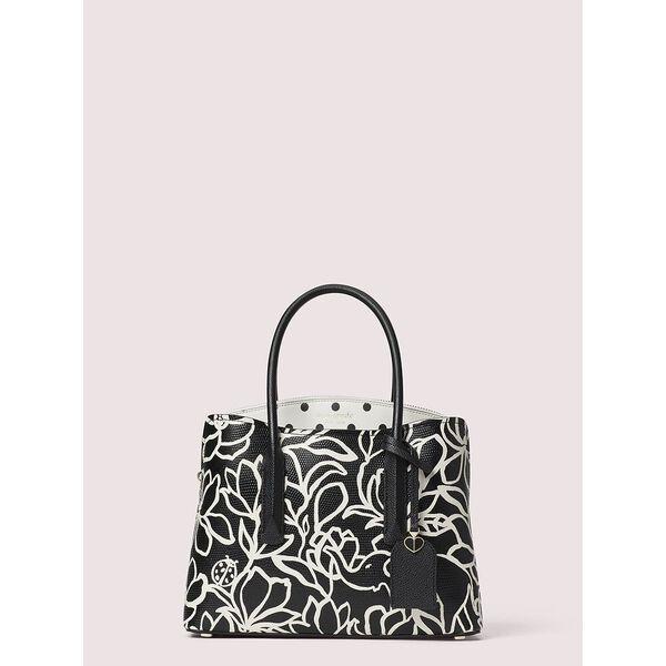 margaux embossed scribble flora medium satchel
