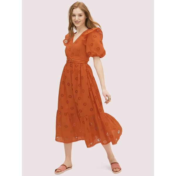 spade clover eyelet dress, tamarillo, hi-res