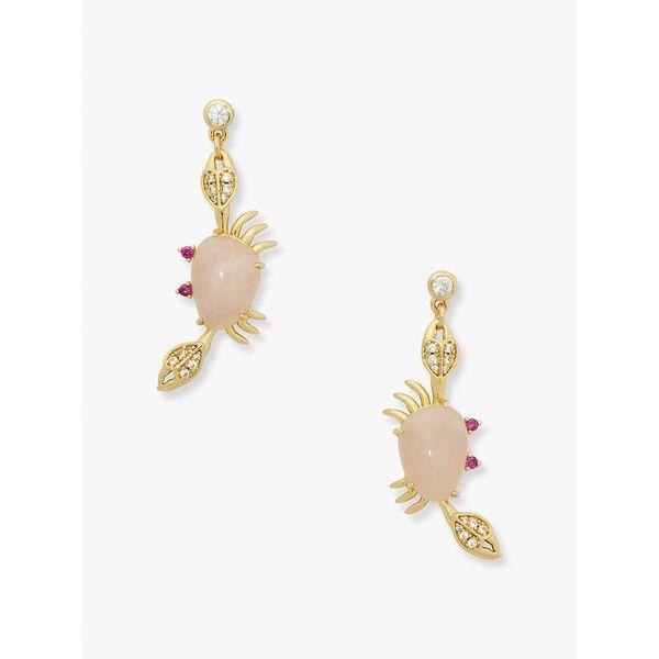 sea star crab drop earrings, pink, hi-res