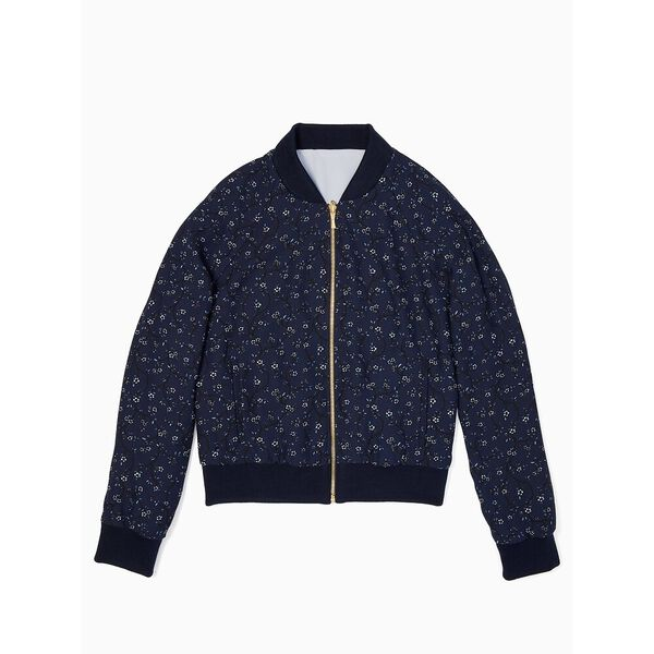 out west wild roses reversible bomber jacket, adriatic blue, hi-res