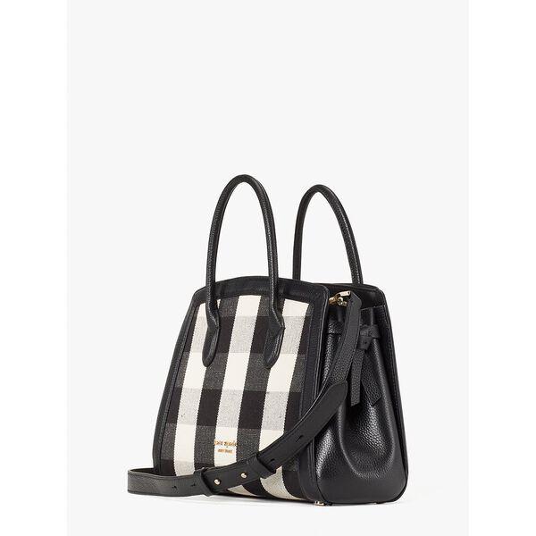 knott gingham medium satchel, blackmulti, hi-res
