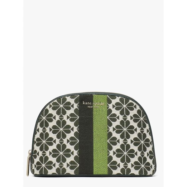 spade flower jacquard stripe large dome cosmetic case, green multi, hi-res