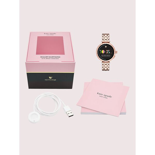 kate spade new york scallop rose gold-ton stainless steel smartwatch 2 featuring contactless payment, rose gold, hi-res