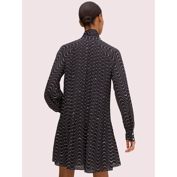 wavy dot shift dress, black, hi-res