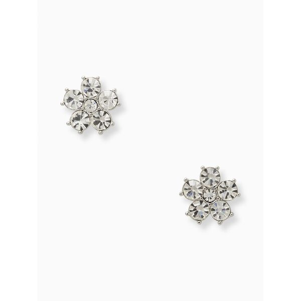 flower studs, clear/silver, hi-res