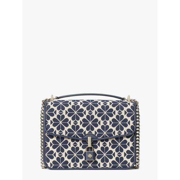 spade flower jacquard locket large flap shoulder bag